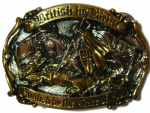 24ct. Gold & Silver Plated British by Birth English by the Grace of God Belt Buckle with display stand. Code AD3